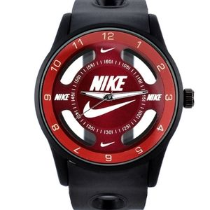 Nike Swoosh Watch Sport Silicone Band Black Strap Red Face Dial Wristwatch